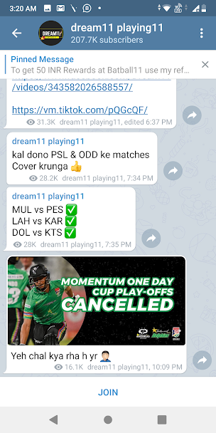 Dream11 Playing11 Telegram Channel