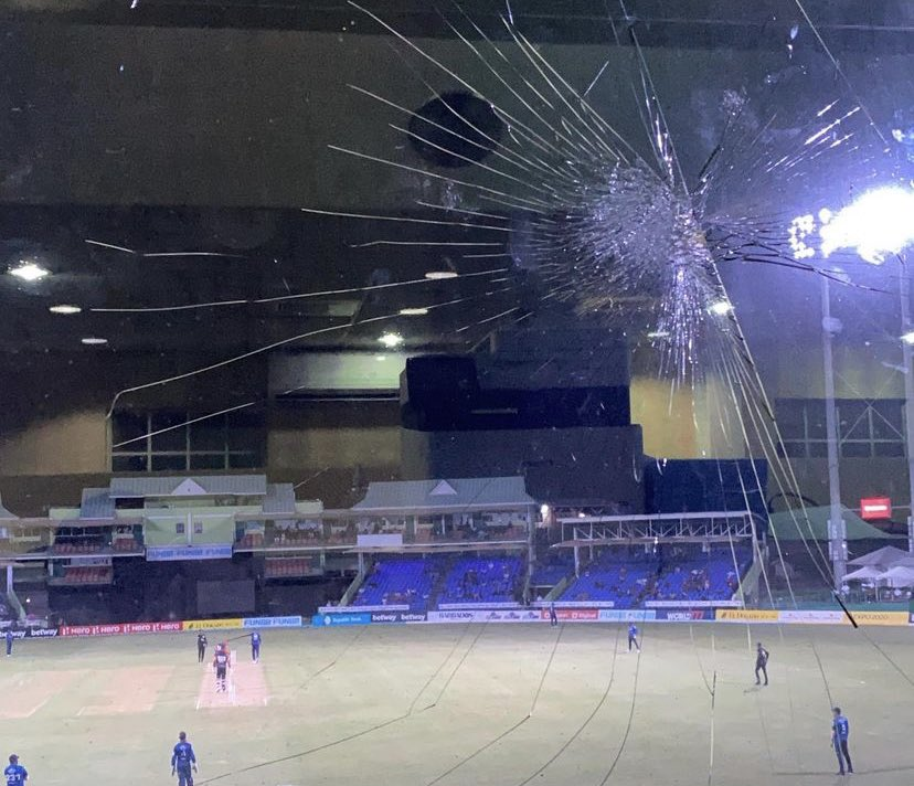 Chris Gayle Smashes Window In CPL 2021
